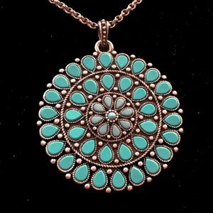 Lucky Brand turquoise round pendant necklace